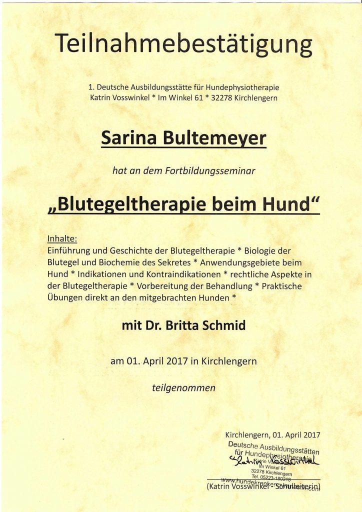 Blutegeltherapie Teilnahmezertifikat
