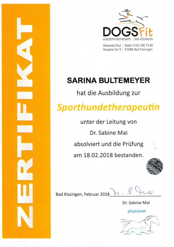 Zertifikat Sporthundetherapeutin